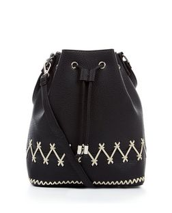 Black Contrast Stitch Duffle Bag  | New Look