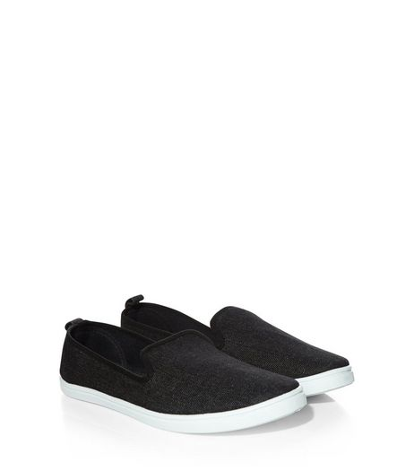 Black Contrast Slip On Plimsolls  | New Look
