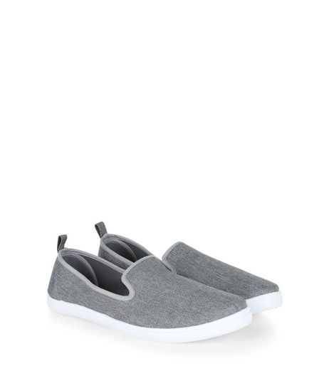 Dark Grey Contrast Slip On Plimsolls  | New Look
