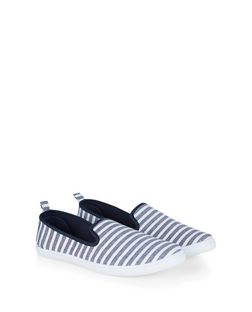 Blue Stripe Contrast Slip On Plimsolls  | New Look