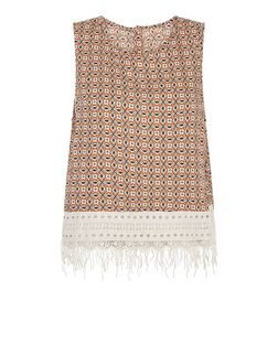 Brave Soul Rust Abstract Print Crochet Hem Vest | New Look