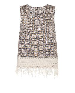 Brave Soul Navy Abstract Print Crochet Hem Trim Vest | New Look