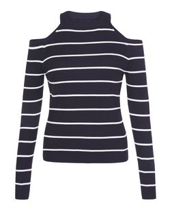 Blue Stripe Cold Shoulder Long Sleeve Top  | New Look
