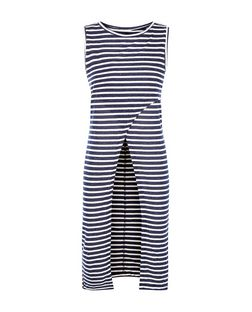 Brave Soul Navy Stripe Wrap Longline Vest | New Look