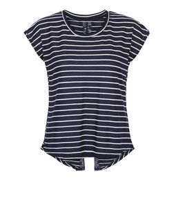 Brave Soul Navy Stripe Lace Split Back Top | New Look