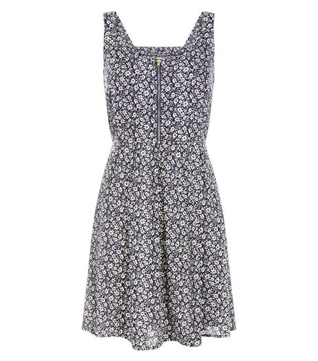 Brave Soul Navy Floral Print Zip Front Dress | New Look