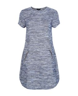 Blue Fine Knit Space Dye Zip Pocket Tunic Dress  | New Look