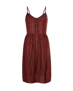 Brave Soul Burgundy Spot Print Midi Dress | New Look
