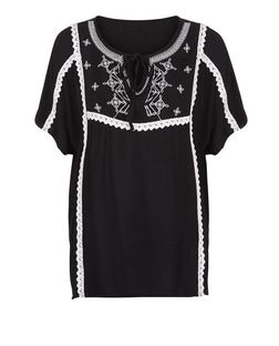 Brave Soul Black Embroidered Blouse  | New Look
