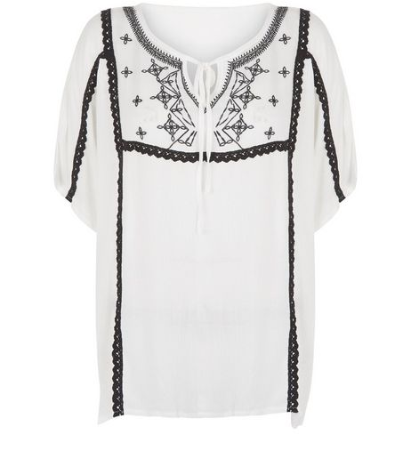 Brave Soul Cream Embroidered Blouse  | New Look