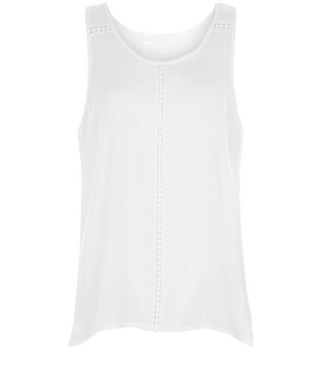 Brave Soul Cream Crochet Panel Sleeveless Top | New Look