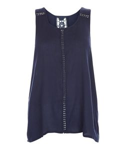 Brave Soul Navy Crochet Panel Sleeveless Top | New Look