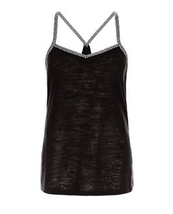 Brave Soul Black Aztec Print Trim Cami | New Look