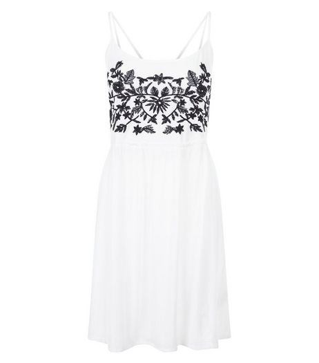 Brave Soul Blue Embroidered Front Strappy Dress | New Look