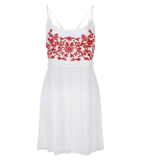 Brave Soul Red Embroidered Front Strappy Dress | New Look