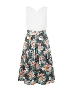 Closet Multicoloured Floral Print Tie Back Dress | New Look