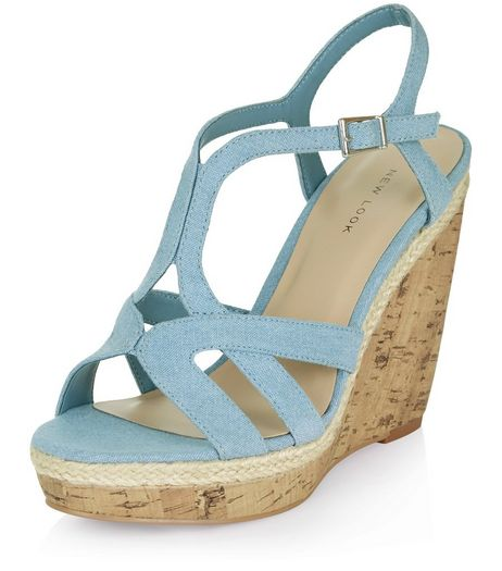 Pale Blue Denim Multi Strap Wedge Sandals  | New Look