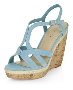 Pale Blue Denim Strappy Wedge Sandals  | New Look