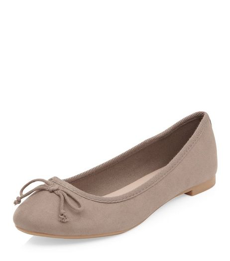 Light Brown Suedette Ballet Pumps  | New Look