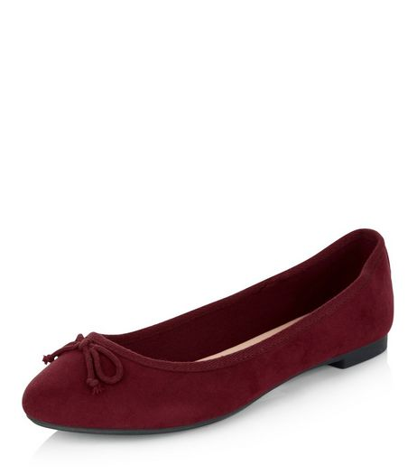 Burgundy Suedette Ballet Pumps | New Look