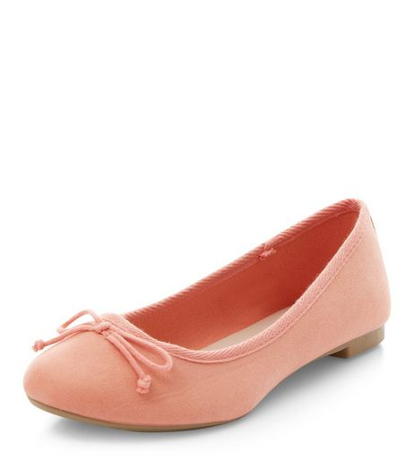Coral Suedette Ballet Pumps  | New Look