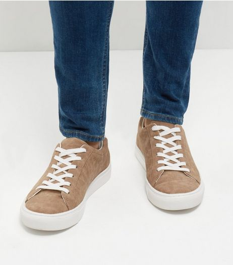 Stone Suedette Lace Up Trainers | New Look