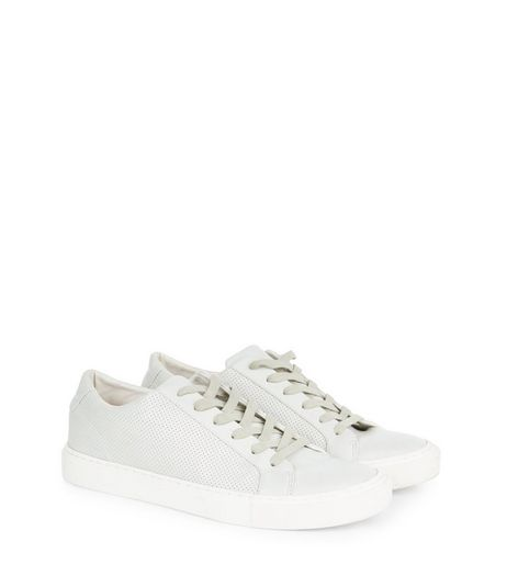 Cream Perforated Panel Trainers  | New Look