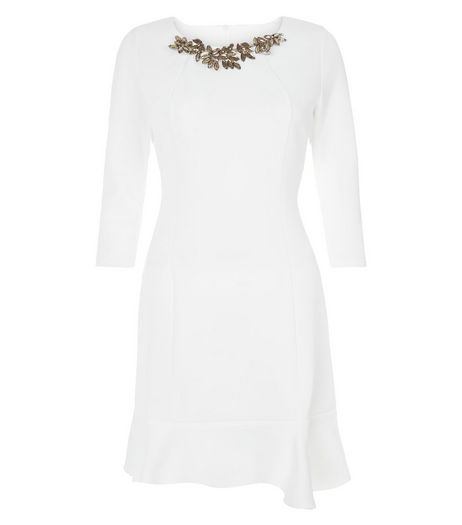Jumpo Cream Embellished Neck Peplum Dress | New Look