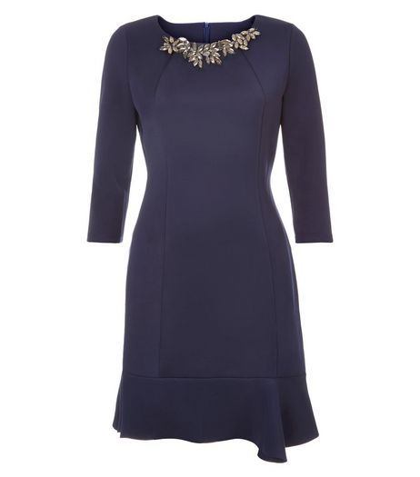 Jumpo Navy Embellished Neck Peplum Dress | New Look