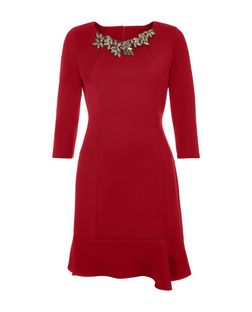 Jumpo Burgundy Embellished Neck Peplum Dress | New Look