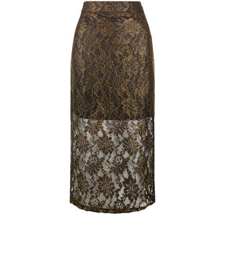 Jumpo Gold Lace Pencil Skirt  | New Look