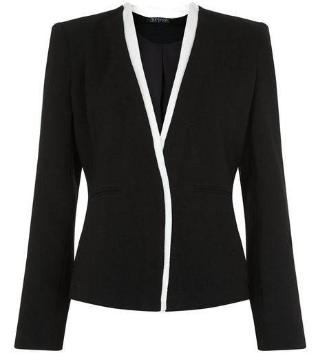 Jumpo Black Contrast Trim Blazer | New Look