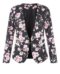 Jumpo Black Flower Print Blazer | New Look