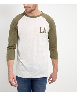 Cream LA Print Raglan T-Shirt  | New Look
