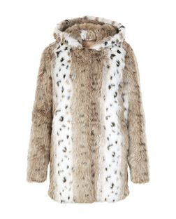 Jumpo Brown Animal Print Faux Fur Coat | New Look