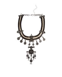 Black Premium Woven Charm Necklace | New Look