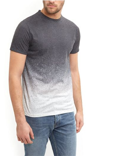 Dark Grey Gradient Ombre T-Shirt  | New Look