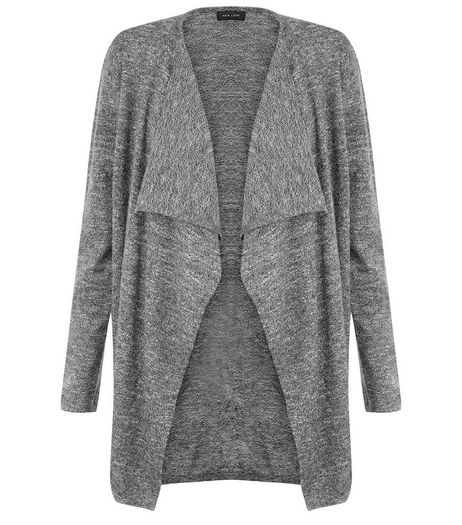 Dark Grey Textured Waterfall Cardigan | New Look