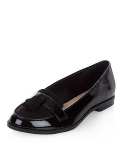 Black Patent Tassel Front Loafers  | New Look
