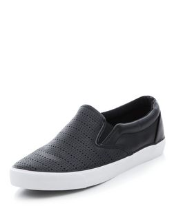 Black Perforated Slip On Plimsolls  | New Look