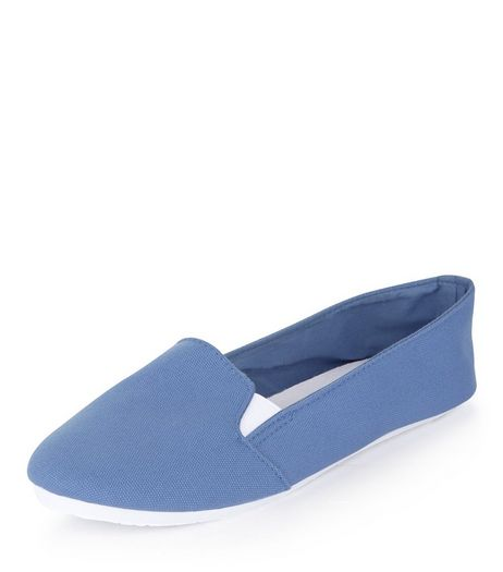 Pale Blue Canvas Slip On Plimsolls  | New Look