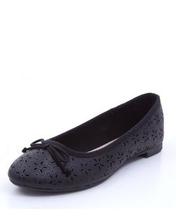 Black Laser Cut Out Ballet Pumps  | New Look