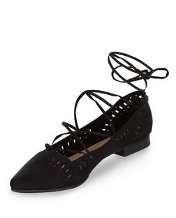 Black Laser Cut Out Pointed Ghillie Shoes | New Look