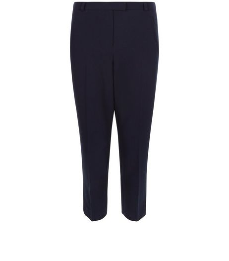 Navy Cropped Slim Leg Trousers  | New Look