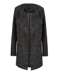Black Fine Knit Leather-Look Sleeve Waterfall Jacket  | New Look