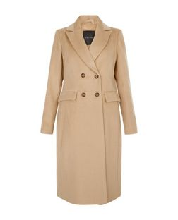 Camel Double Breasted Longline Coat  | New Look