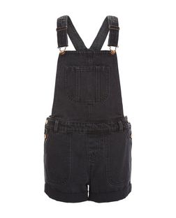 Black Denim Short Dunagrees | New Look