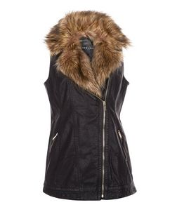 Black Leather-Look Faux Fur Collar Sleeveless Jacket  | New Look