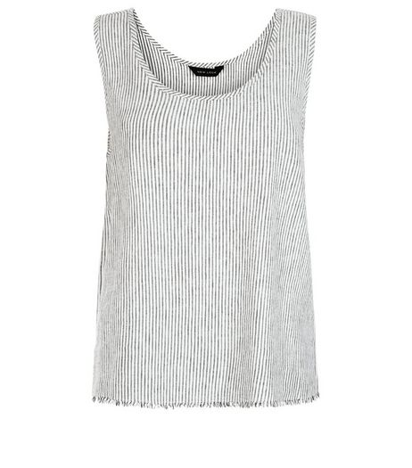 White Linen Stripe Fray Hem Sleeveless Top  | New Look