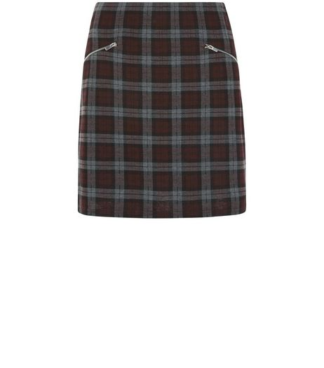 Red Check Double Zip A-Line Skirt  | New Look